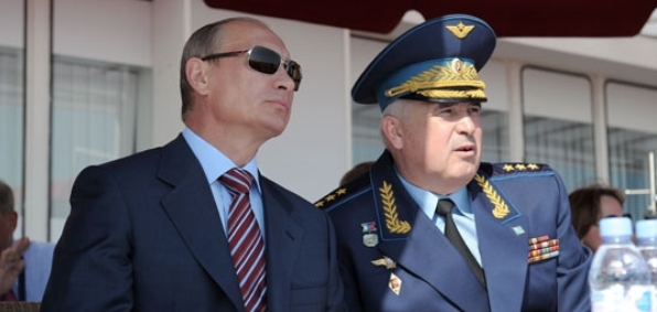 Russian President Vladimir Putin and Col. Gen. Alexander Zelin, former commander in chief of the Russian Air Force and current adviser to the Russian defense minister (Wikimedia)
