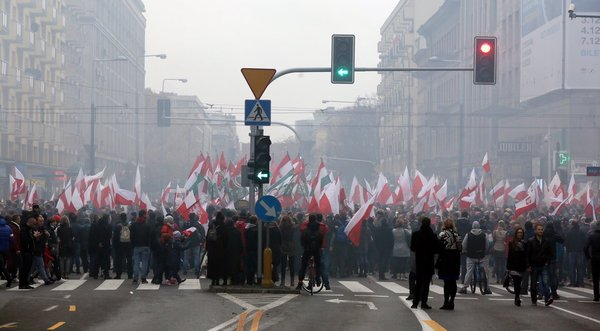"Demonstrators in the streets of Warsaw Wednesday numbered in the 50,000 range and featured nationalistic, anti-EU slogans such as ""Poland for Poles"" and ""Stop Islamization."""
