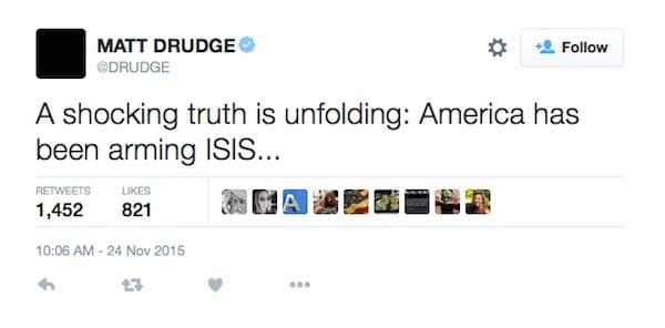 Image result for drudge, Isis tweet