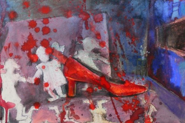 """Empty Red Shoes"" by Judith Gait (""On Abortion"" series)"