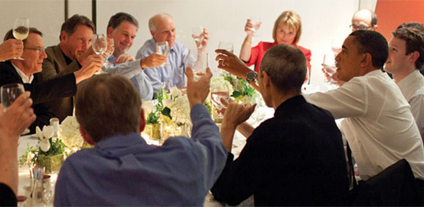 President Obama joins a toast with IT business leaders at a dinner in Woodside, California (White House photo)