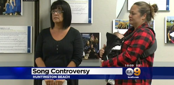 "Nichole Negron, left, and Susan Negron, right, want to know why an Orange County middle school teacher had students sing an Islamic ""fight song."""