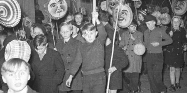 Children in West Germany carry paper lanterns in the St. Martin's procession in 1949. (Credit: Wikipedia)