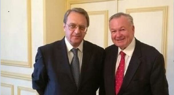 Retired U.S. Army Maj. Gen. Paul E. Vallely, right, met recently with Russian President Vladimir Putin's top Mideast assistant, Mikhail L. Bogdanov, at the Russian Embassy in Paris.