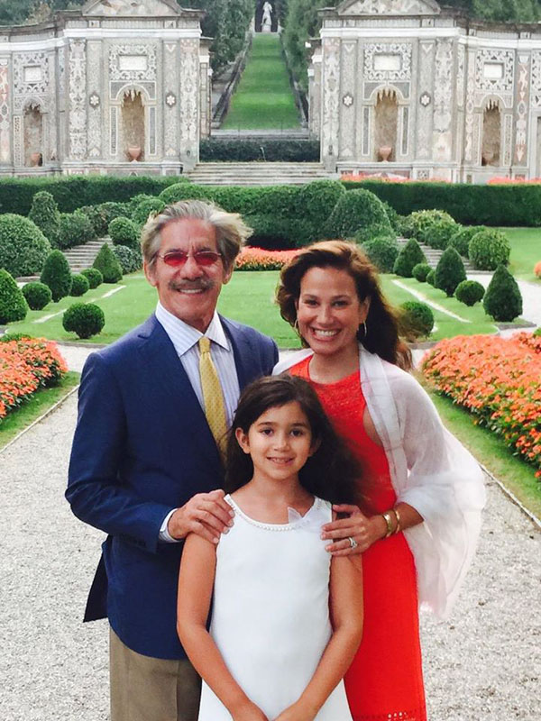 Geraldo Rivera with his wife Erica Levy and daughter at an estate near Lake Cuomo in Italy (Facebook)