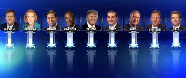 Lineup for Fox Business Network's Jan. 14 GOP debate (Photo: Screenshot)