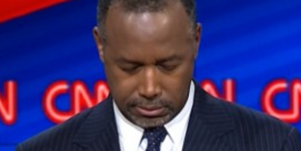 Ben Carson called for a moment of silence for the San Bernardino victims at the Republican debate. (Credit: CNN)