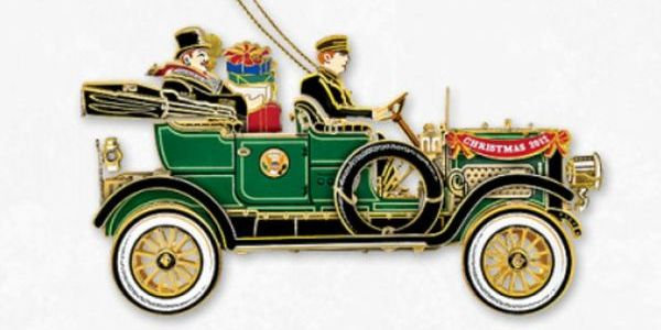 The 2012 White House Christmas Ornament which honors President William Howard Taft, our 27th president. Taft introduced the automobile to White House transportation in 1909, breaking a long presidential tradition of reliance on horse-drawn vehicles.