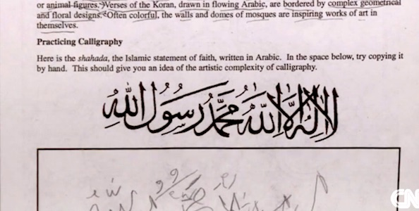 "Students at a Virginia high school were asked to practice writing, """"There is no god but Allah. Muhammad is the messenger of Allah."" (Photo: WHSV-3 ABC screenshot)"