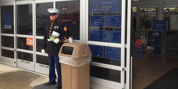 A former Marine collecting for Toys for Tots was told to stay outside Walmart.