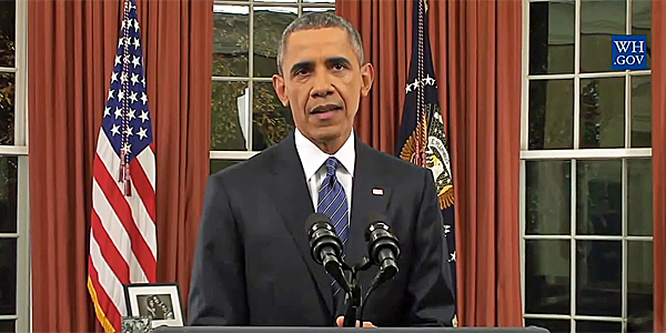President Obama addresses America from the Oval Office on terrorism, ISIS and the San Bernardino, California, shootings on Dec. 6 (Photo: White House video screenshot)