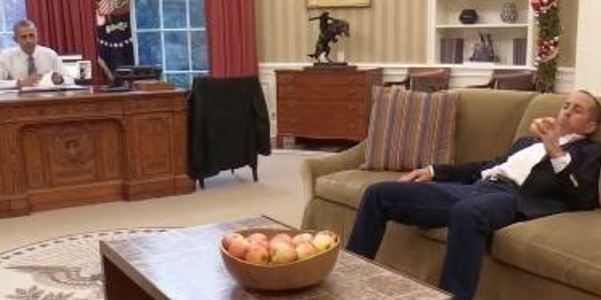 "President Obama and Jerry Seinfeld in the White House, during taping of ""Comedians in Cars Getting Coffee."" (White House, via Twitter)"