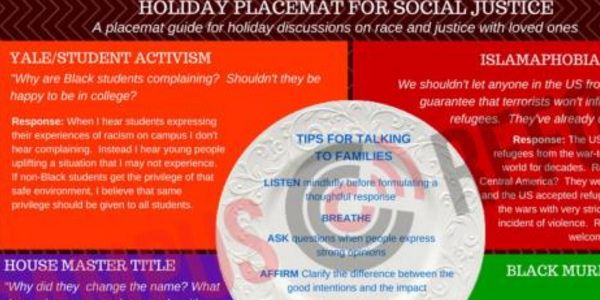 Harvard University wants students to serve up a good placemat portion of civil justice at the Christmas dining table. (Credit: Campus Reform)