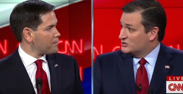 Florida Sen. Marco Rubio and Texas Sen. Ted Cruz spar during CNN's Republican debate in Las Vegas, Nevada (Photo: CNN screenshot)