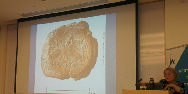 A professor discovered a stamp seal with King Hezekiah's name that was pulled from an excavation site in 2009. (Credit: Twitter)