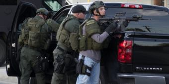 Police in San Bernardino respond to a mass shooting. (Credit: CNN)