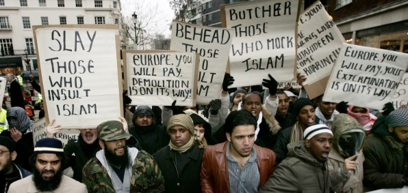 Muslims protest in front of the Danish Embassy in London in 2006
