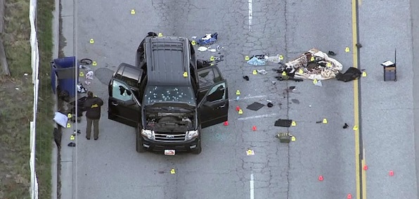 Crime scene following chase of vehicle driven by San Bernardino shooters Syed Farook and Tashfeen Malik. Americans have grown concerned about Islamic terrorism such as this but CAIR sees it as merely 'Islamaphobia.'