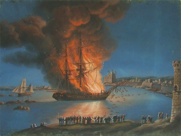 The burning of the Philadelphia in Tripoli Harbor