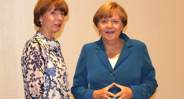 Cologne Mayor Henriette Reker (left) stands with German Chancellor Angela Merkel. (Photo: FB, Henriette Reker)