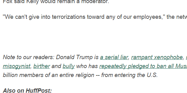 "This Huffington Post story from January 27 included the notation about Donald Trump, calling him a ""racists"" and other names. (Credit: Huffington Post)"