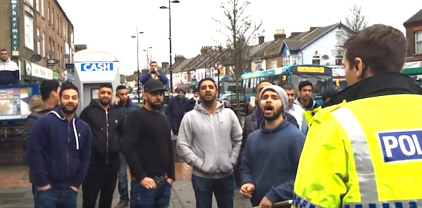 "A mob of Muslim men swarmed a ""Christian patrol"" organized by the political group Britain First (Photo: YouTube, Britain First)"