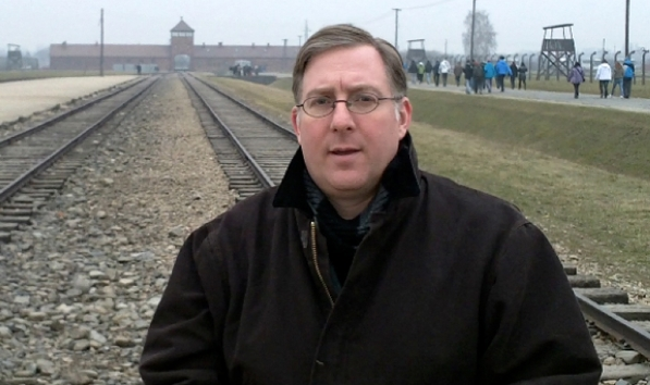 Christian author Joel Rosenberg in front of the Auschwitz-Birkenau camp was liberated 71 years ago on Jan. 27, 1944, by the Soviet army.