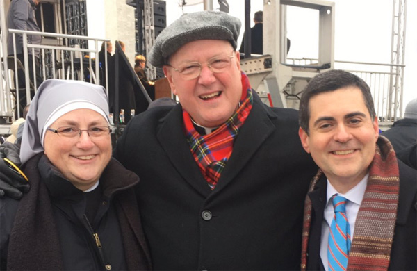Southern Baptist Convention Ethics & Religious Liberty President Russell Moore (right) backstage at March for Life with Cardinal Timothy Dolan of New York and Little Sisters of the Poor (Photo: Twitter/Russell Moore)