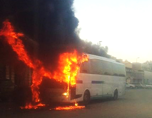 A Saudi Aramco bus burns after a recent terrorist assault. It can be fairly argued that without Saudi Aramco, modern Saudi Arabia, and the economic influence of Riyadh, would not exist
