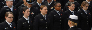 Female sailors with the U.S. Navy stand for inspection. (Credit: Wikipedia)