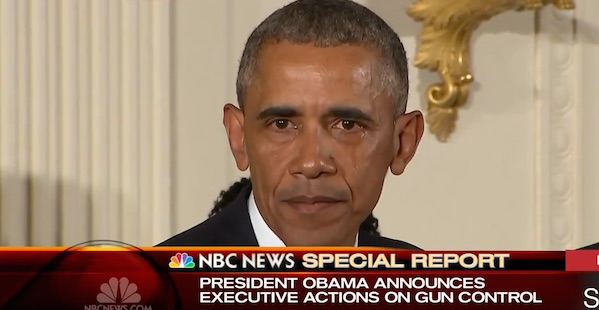 Obama cries on Tuesday, Jan. 5, 2016, while talking about new executive orders on gun control.