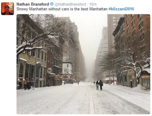 Unusual sight: Manhattan without cars