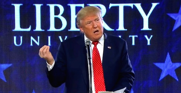 Donald Trump speaks at Liberty University on Monday, Jan. 18, 2016 (Photo: CNN screenshot)