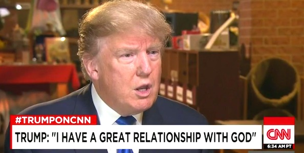 "Donald Trump tells CNN's Jake Tapper he has a ""great relationship with God"" during an interview Jan. 18, 2016"