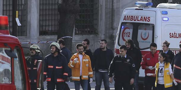 Emergency personnel respond to the site of an explosion in Turkey.