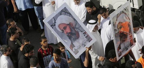Protest against Saudi imprisonment of Shi'ite cleric   Sheikh Nimr al-Nimr.