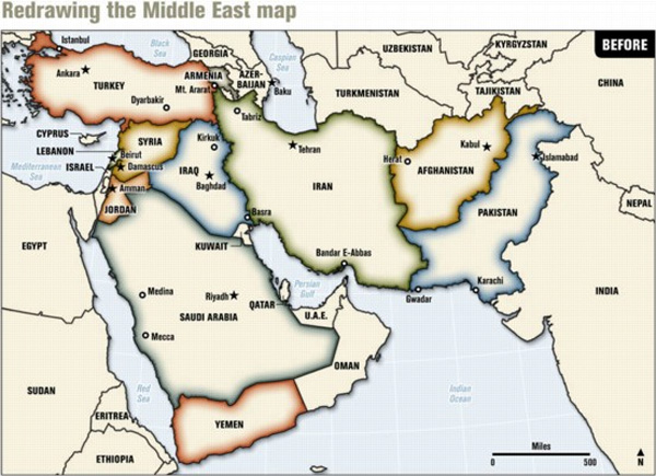 These maps display a grand vision to redraw the Middle East into various realms constituting a major paradigm shift in human history