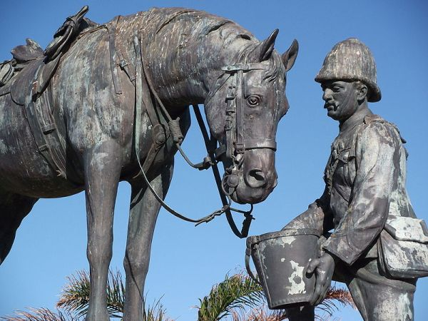 Horse memorial was targeted by SA protesters / photo Kay-Africa