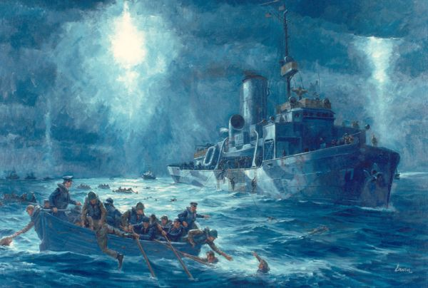 Painting of the rescue of USAT Dorchester survivors by USCGC Escanaba (WPG-77); artist unattributed