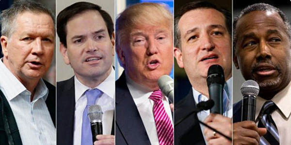 GOP presidential candidates John Kasich, Marco Rubio, Donald Trump, Ted Cruz and Ben Carson (Photo: Twitter)