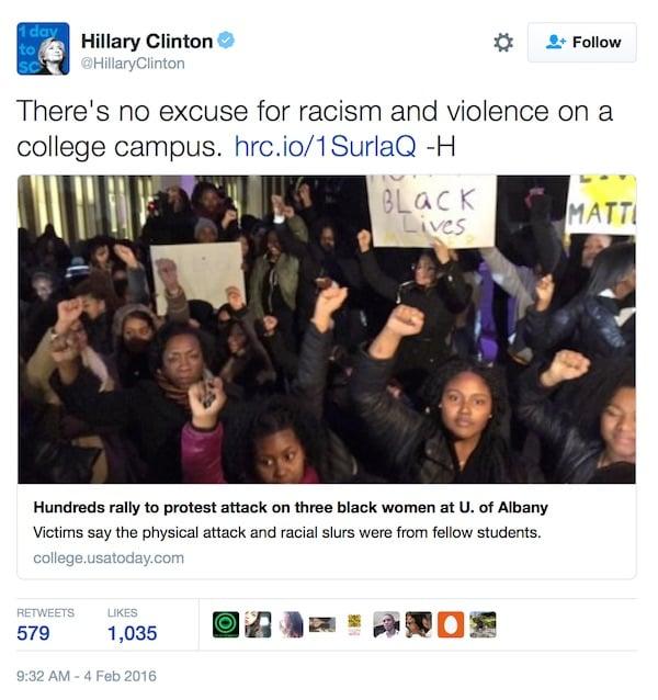 Hillary Clinton race hoax