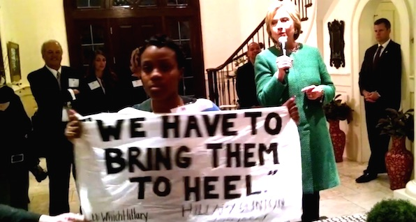 Hillary Clinton is confronted by a Black Lives Matter activist in Charleston, South Carolina (Photo: YouTube, Not a Super-predator)