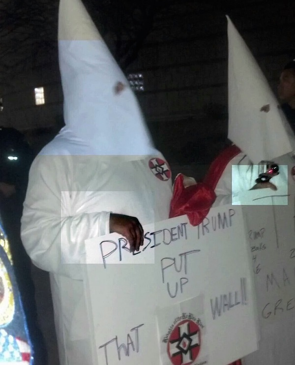 Two men claim to be supporters of Donald Trump while dressed in KKK garb. & Desperate hoax: Are these u0027KKKu0027 Trump supporters really black? - WND
