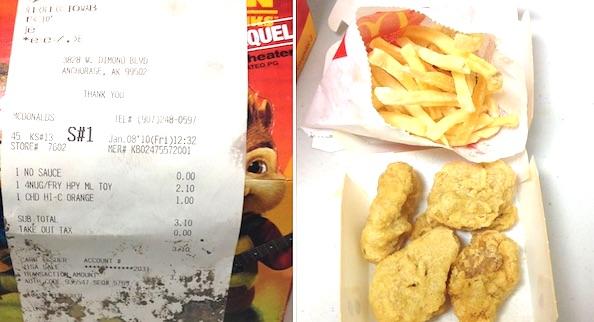 "Jennifer Lovdahl of Anchorage, Alaska, bought the above McDonald's ""Happy Meal"" January 8, 2010 (Photo: Facebook, Jennifer Lovdahl)"