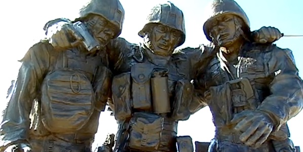 The No Man Left Behind Memorial in Camp Pendleton, California, was inspired by a battle in Fallouja, Iraq, in 2004 (Photo: YouTube, Hope for the Warriors)