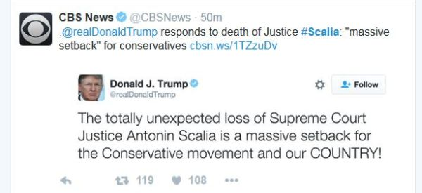 Scalia tweet from Donald Trump 2-13-16