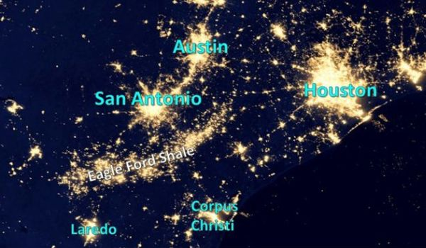 Eagle Ford Shale area view from space