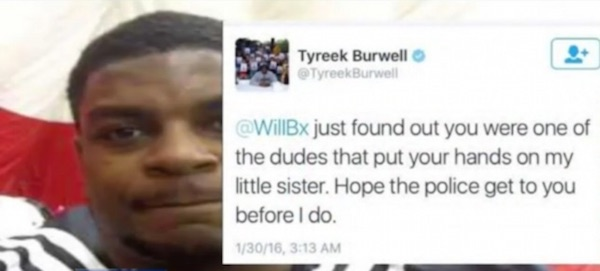 Tyreek Burwell, brother of Asha Burwell and NFL lineman for the San Diego Chargers, threatened to inflict violence on a man she claimed hit her. Surveillance footage shows Burwell was the aggressor.