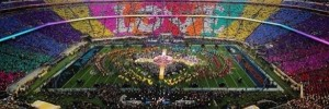 When thousands of people in the crowd turned over the cards they were given by the NFL stadium, they formed a rainbow with the slogan 'Believe in Love' during halftime of Sunday's Super Bowl 50 event.