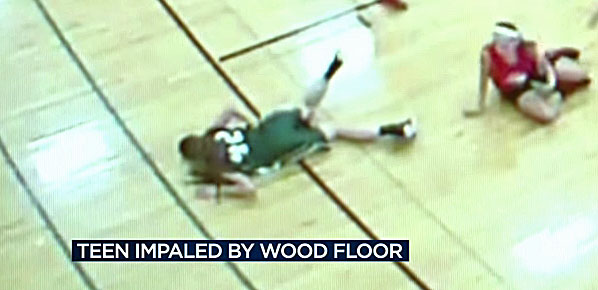 A 14-year-old girl impaled herself on a floorboard during a basketball tournament in Middleton, Wisconsin, on Sunday, Feb. 14, 2016
